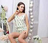 Пижама женская хлопковая с понпонами кактусы на белом (майка+шорты)
