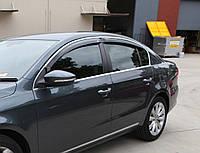 Дефлекторы окон (ветровики) Volkswagen Pass B6 2005-2011 4дв Sedan Хром молдинг Код:280967898