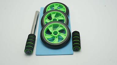 Колесо для мышц пресса Profi 3 колеса (MS 0873G) Зеленое, фото 3