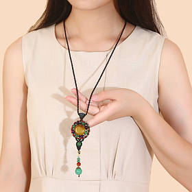 Etnisk veving genser halskjede Retro Agate lang stil halskjede for kvinner - 1TopShop