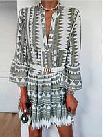 Пуловер с V-образным вырезом с рукавами три четверти и принтом Платье - 1TopShop