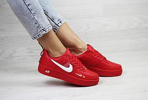 Подростковые, женские кроссовки Nike air force 1,красные, фото 2