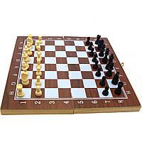 Настольная игра Шахматы, шашки, нарды 3в1 (деревянная доска, фигурки пластик) F22016, фото 1