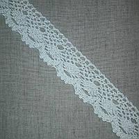 Кружево хлопковое Геометрия одностороннее белое с серебром, 4 см