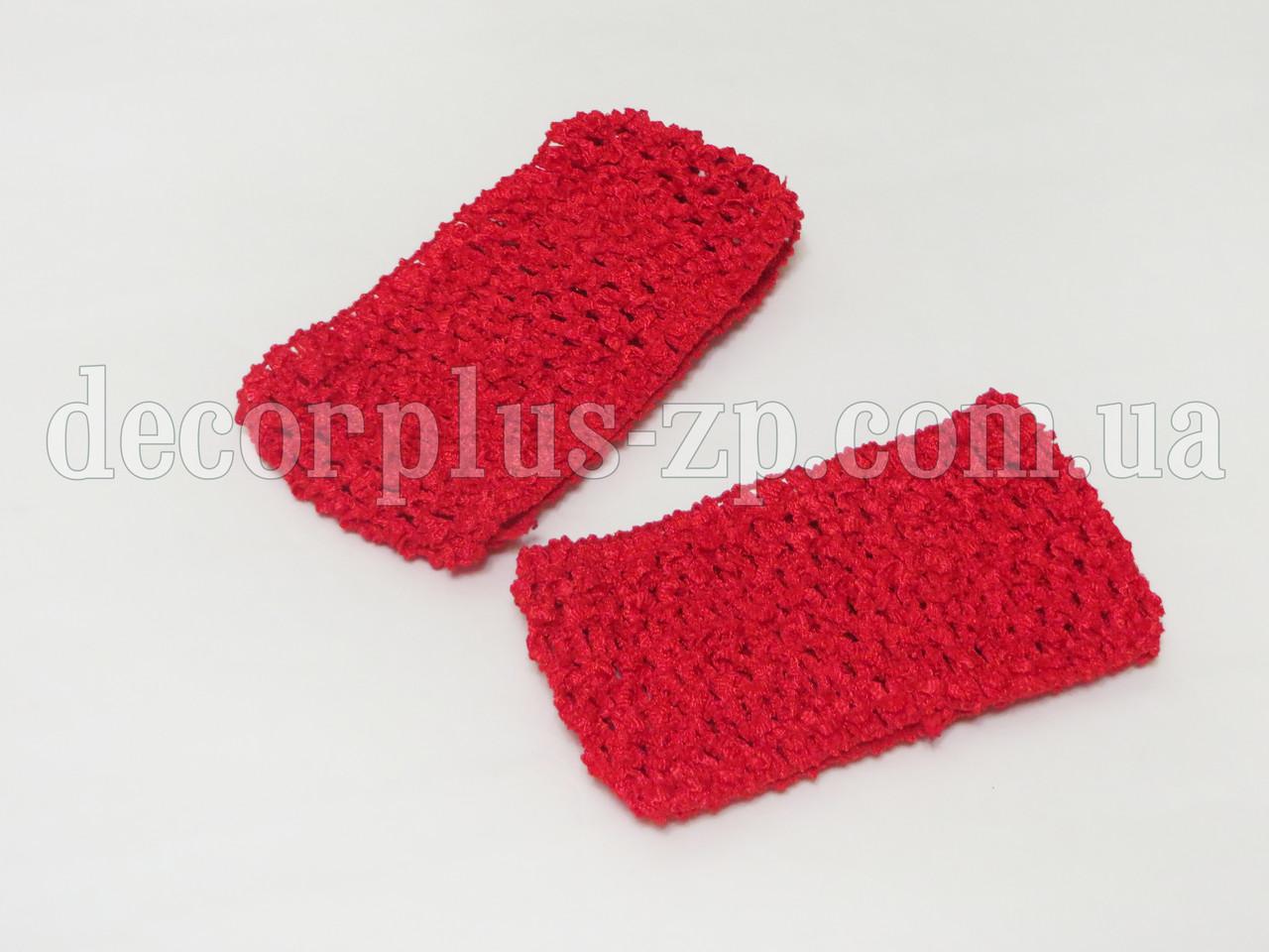Повязка ажурная для волос 7 см. Красная