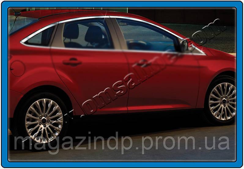 Ford Focus 5D (2011-) Верхние молдинги стекол 8шт Код:705734632