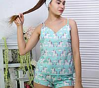 Пижама женская хлопковая единорожки на синем (майка + шорты)