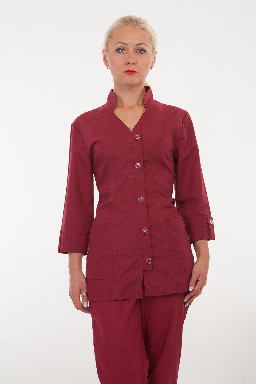 Медицинский женский костюм бордового цвета HL 2211 батист 42-60 р