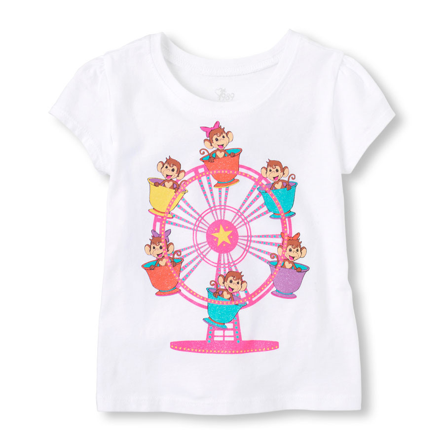 """Детская футболка """"Карусель"""" на девочку, 12-18 мес."""