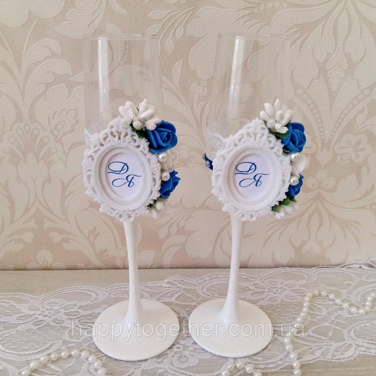 Свадебные  бокалы с монограммой