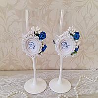 Свадебные  бокалы с монограммой, фото 1