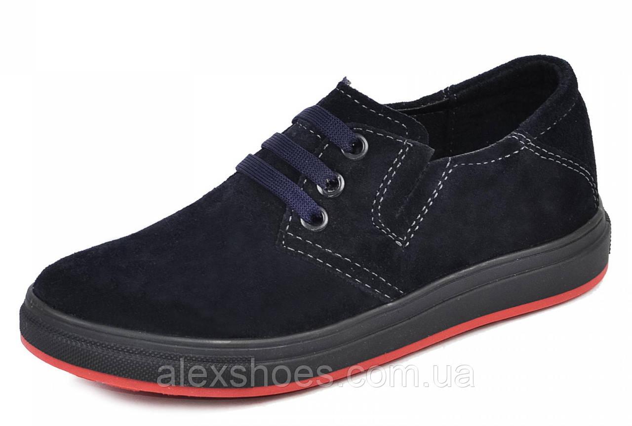 Туфли подростковые для мальчика из натуральной замши от производителя модель МАК790