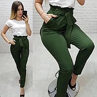 Жіночі брюки з високою посадкою і поясом, арт 168, колір хакі