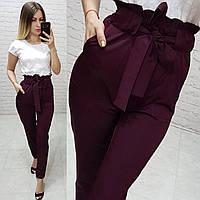 Жіночі брюки з високою посадкою і поясом, арт 168, колір марсала, фото 1
