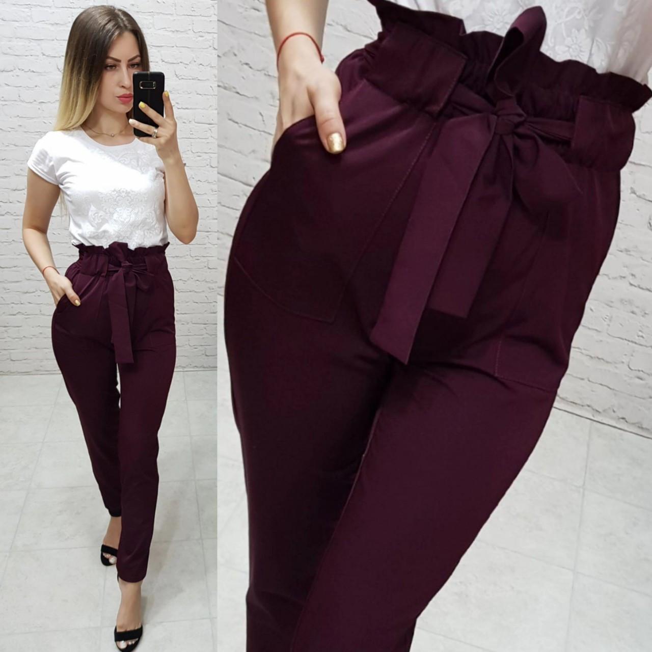 Жіночі брюки з високою посадкою і поясом, арт 168, колір марсала