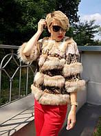 Шуба из рыси и леопарда Модель 20945, фото 1