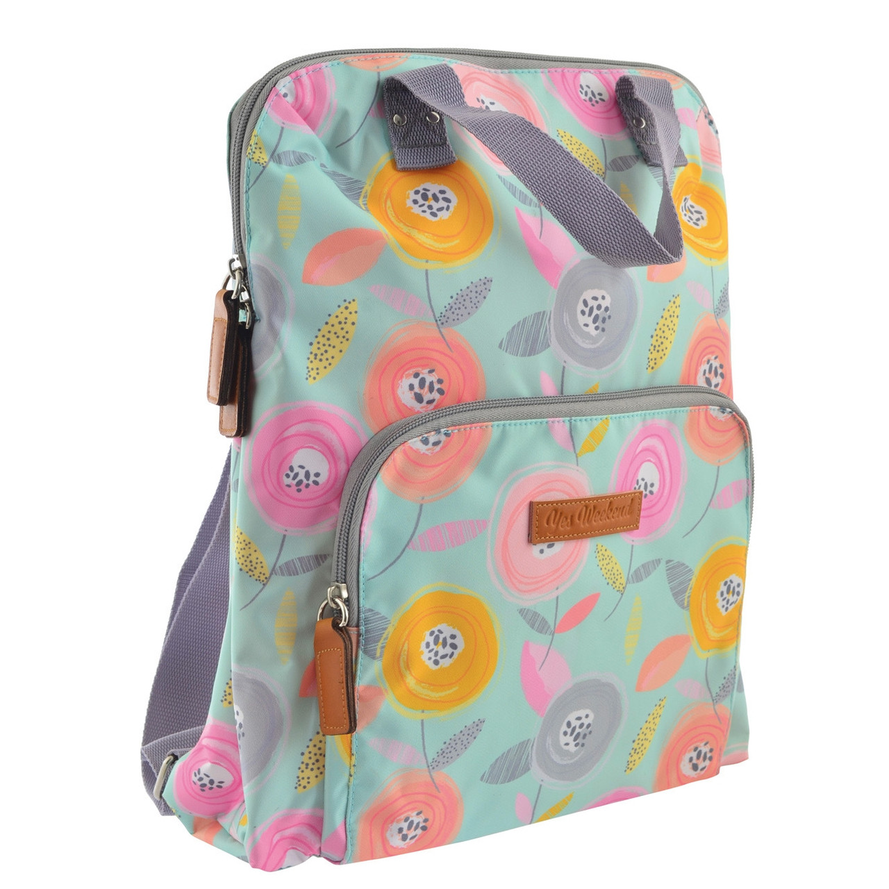 """Рюкзак молодежный YES ST-26 """"Daisy"""" для девушек бирюзовый с рисунком (сумка-рюкзак)"""