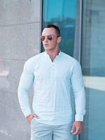 Летняя мужская рубашка стойка светло-бирюзовая
