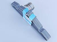 Плечики  тремпеля металлический в силиконовом покрытии серебристого цвета, длина 40 см, в упаковке 10 штук
