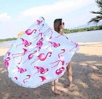 Коврик пляжное покрывало Фламинго подстилка микрофибра махра круглое полотенце 150 см с бахромой