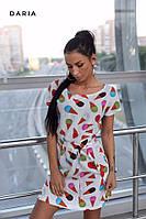 Платье женское мини летнее повседневное с яркими принтами мороженое Smch3582