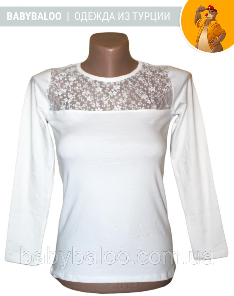 Блузка длинный рукав вставка гипюр+бусинки (от 6 до 14 лет)
