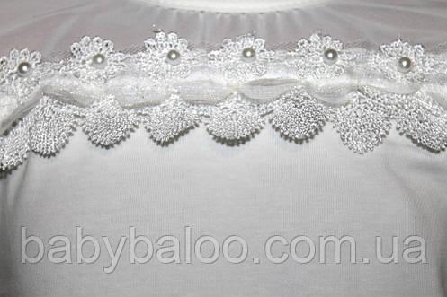 Блузка длинный рукав фатин тесьма+бусинки (от 6 до 12 лет), фото 2