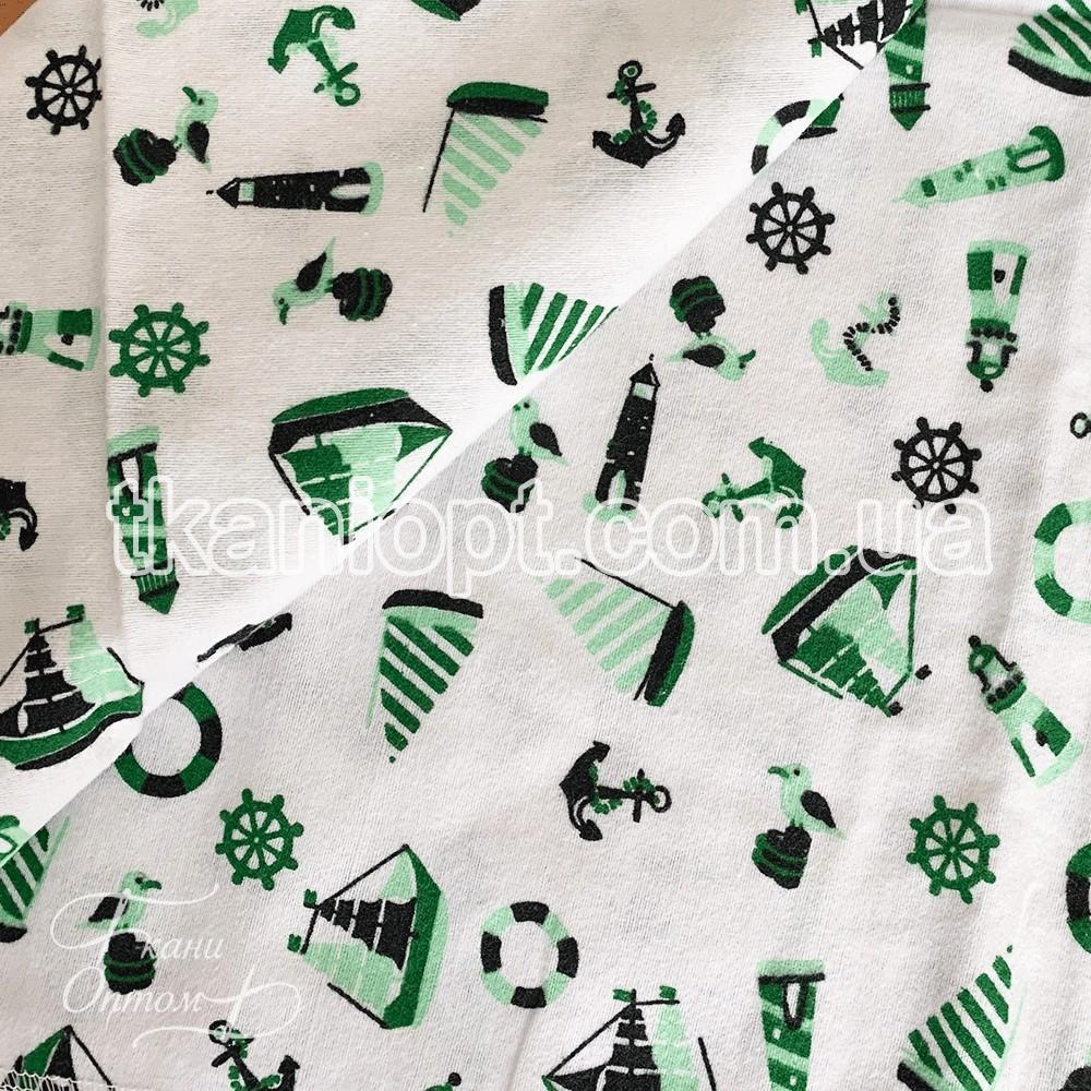 Ткань Фланель детская (морские мотивы) зеленый