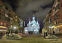 Фотокартина на холсте Улица Воскресенская  в Сумах зимней ночью 50х70 см
