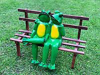 """Садовая фигура """"Лягушки влюблённые на лавке"""" Н-45см, фото 1"""