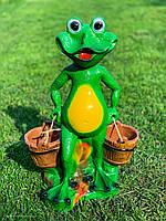 """Садовая фигура """"Лягушонок с вёдрами"""" H-49см, фото 1"""