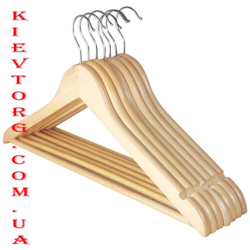 Плечики вешалки деревянные лакированные светлые LUX для одежды, 44 см