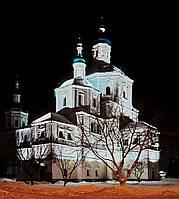 Фотокартина на холсте Церковь Воскресенская в Сумах зимней ночью  50х70 см