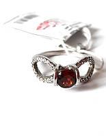 Кольцо(18.5) серебряное с натуральным гранатом, женское