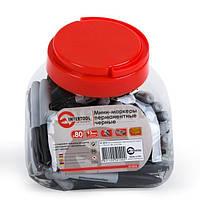 Мини-маркеры перманентные черные, L= 93мм, 80 шт/упак. INTERTOOL KT-5010, фото 1