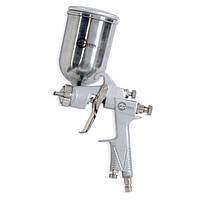 Пневматичний фарборозпилювач HP, форсунка 1.0 мм, верхній металевий бачок 400мл, 5бар INTERTOOL PT-0201