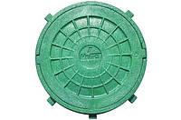 Люк полимерный круглый зеленый с замком 1.5т