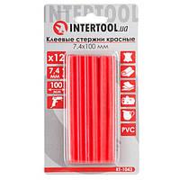 Комплект червоних клейових стрижнів 7.4 мм*100мм, 12шт. INTERTOOL RT-1043