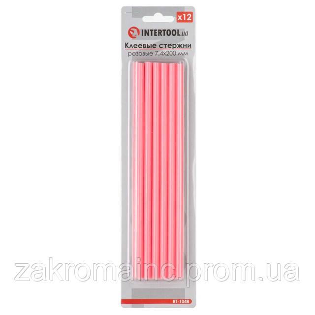 Комплект розовых клеевых стержней 7.4мм*200мм, 12шт. INTERTOOL RT-1048