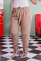 Льняные брюки большого размера беж, фото 1