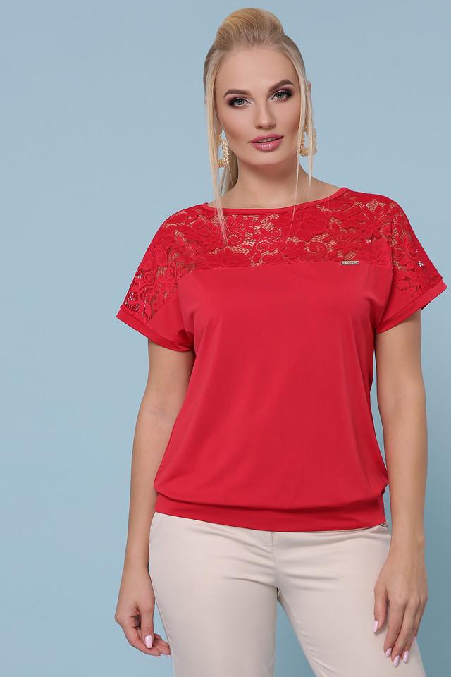 Женская летняя блузка, красная с гипюром, повседневная, нарядное, свободная, большой размер