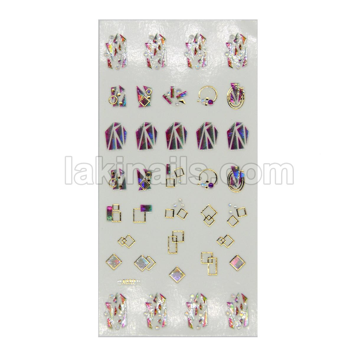 Силиконовые гибкие наклейки 3D с камнями для дизайна ногтей A-037