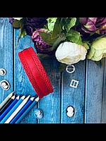 """Лента репсовая перфорированная 2.5 см """"Ажурная каемка"""" бордового цвета, 20 ярд/уп, оптом SD, фото 1"""