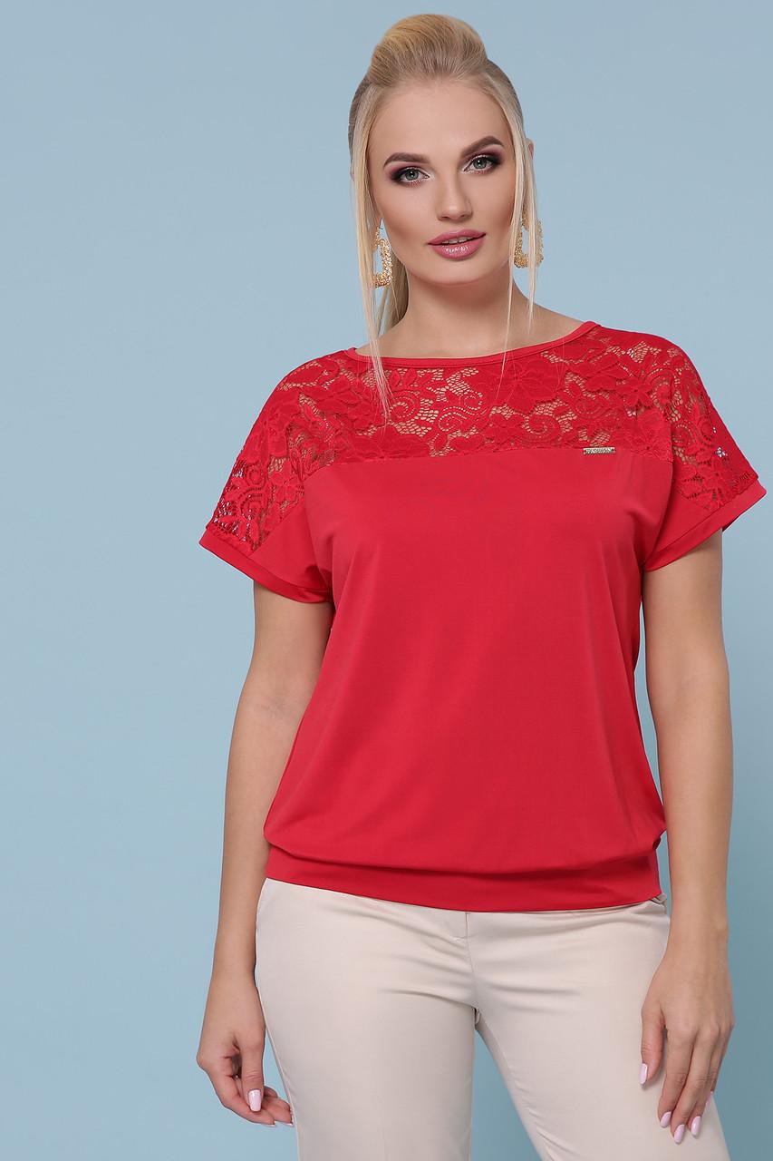 Женская элегантная летняя блузка, красная с гипюром, повседневная, нарядное, свободная, большой размер