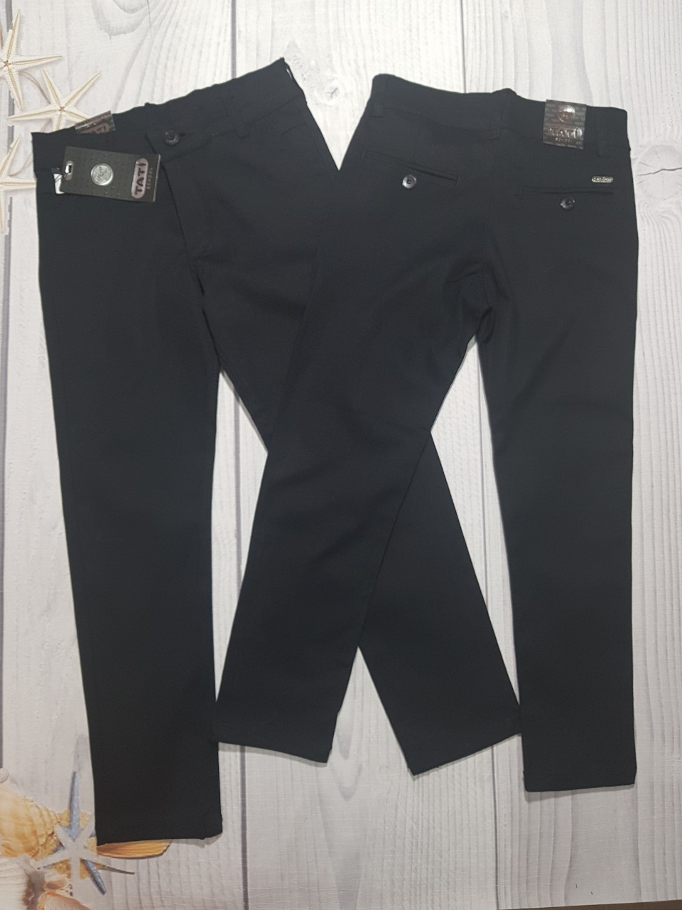 Подростковые школьные брюки для мальчика Tati 10-13 лет чёрные