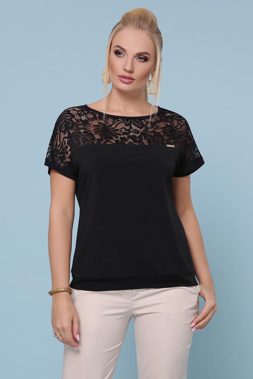 Женская летняя блузка, элегантная, чёрная с гипюром, повседневная, нарядное, свободная, большой размер