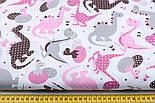 Лоскут ткани с дракончиками с полосочками и горошком серые, коричневые, розовые на белом (№1862) размер 23*80, фото 3