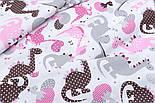 Лоскут ткани с дракончиками с полосочками и горошком серые, коричневые, розовые на белом (№1862) размер 23*80, фото 4