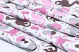 Лоскут ткани с дракончиками с полосочками и горошком серые, коричневые, розовые на белом (№1862) размер 23*80, фото 6