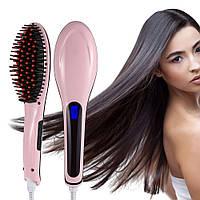 Расческа-выпрямитель для волос Fast Hair Straightener HQT 906 с Led дисплеем Розовая